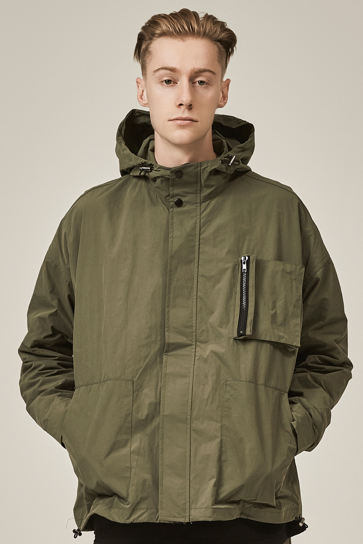 KHAKI POCKET DOCKING HOODIE JACKET